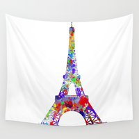 eiffel tower Wall Tapestries featuring Eiffel Tower  by ron ashkenazi