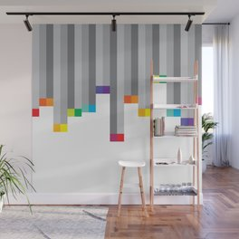 Pixel Rainbow on White Wall Mural
