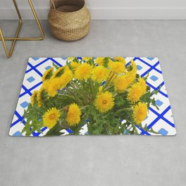 Yellow Blooming Dandelion Flowers On Delft Blue Tile Rug