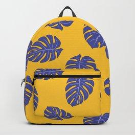 Monstera trendy - yellow purple Backpack