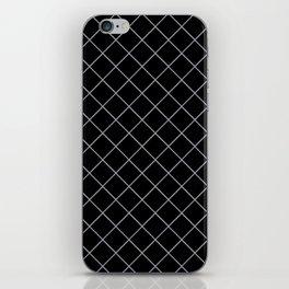 Pantone Lilac Gray Thin Line Stripe Grid (Pinstripe Pattern) on Black iPhone Skin