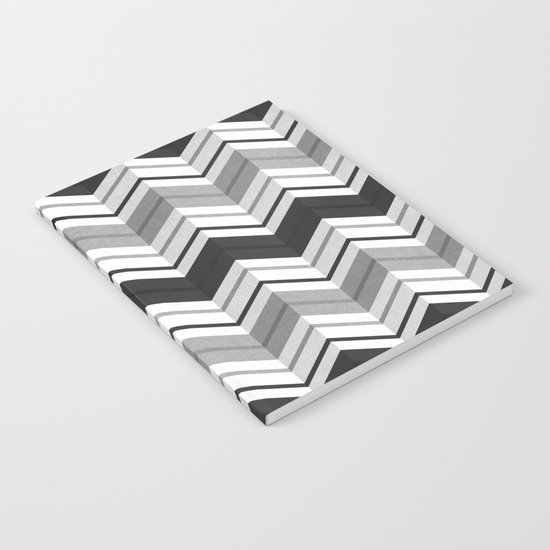 CHEVRON STRIPES - BLACK Notebook