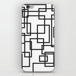 Black and White Cubical Line Art iPhone Skin