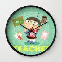 teacher Wall Clocks featuring teacher by Alapapaju