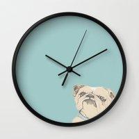 bulldog Wall Clocks featuring bulldog by Cecilia Sánchez