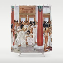 "Classical Masterpiece ""The Court of Pharaoh and the High Priestess"" by H.M. Herget Shower Curtain"