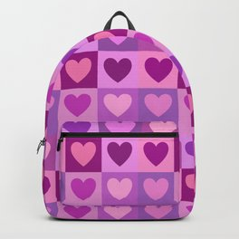 Hearts 3x3 Pinks Purples Mauves Backpack