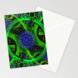 Green Gears Fractal Stationery Cards