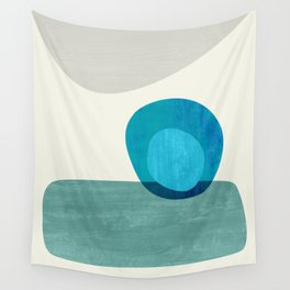 Stacking Pebbles Blue Wall Tapestry
