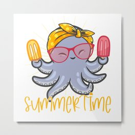 Cute Octopus With Yellow Bandana And Popsicles Metal Print