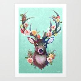 Deer of Spring Art Print