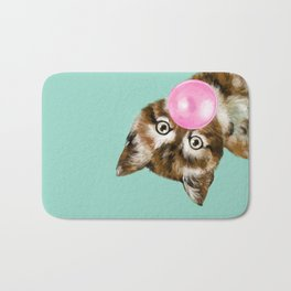 Bubble Gum Baby Cat in Green Bath Mat