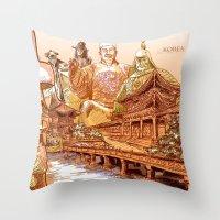 korean Throw Pillows featuring Korean Travels by Lundy