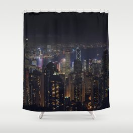 Hongkong Skyline at night Shower Curtain