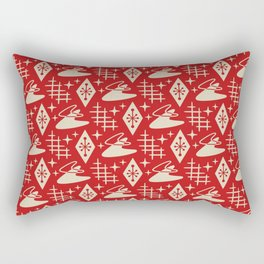 Mid Century Modern Boomerang Abstract Pattern Red and Tan 261 Rectangular Pillow