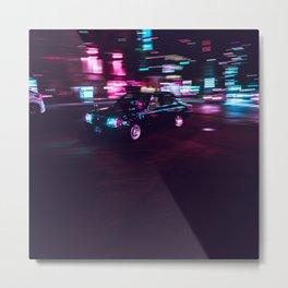 Japanese Taxi Long Exposure| Neon Cyberpunk Aesthetic Metal Print