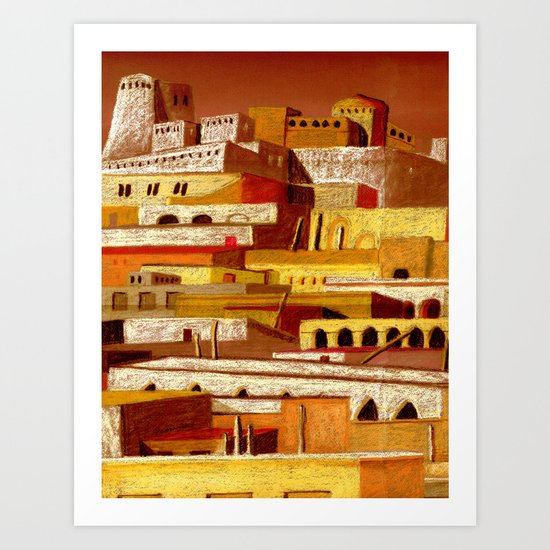 The fortress at sunset Art Print