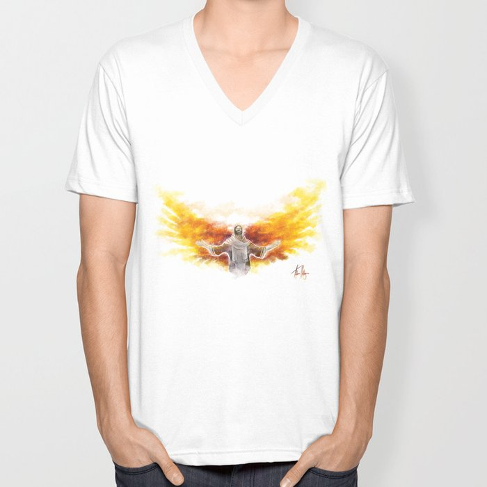 On Wings Like Eagles (Isaiah 40:31) Unisex V-Neck