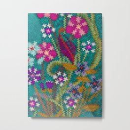 Starry Floral Felted Wool, Turquoise and Pink Metal Print