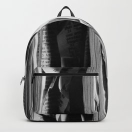 The Holy Book - High Contrast Black And White Typographic Design Backpack