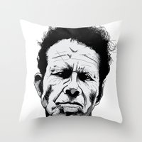 tom waits Throw Pillows featuring mr. waits by Darby Krow