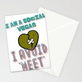 I am a social vegan I avoid meet (ver 2) Stationery Cards