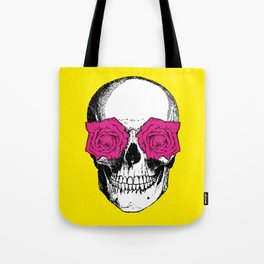 Skull and Roses | Skull and Flowers | Vintage Skull | Yellow and Pink | Tote Bag