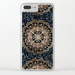 Black and White Sparkles & Rose Gold Mandala Textile Clear iPhone Case
