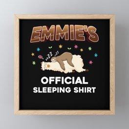 Emmie Name Gift Sleeping Shirt Sleep Napping Framed Mini Art Print