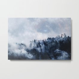 stars shine in the foggy forest Metal Print