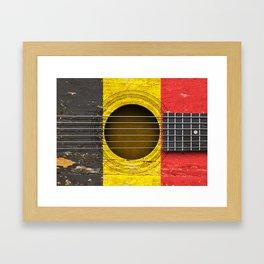 Old Vintage Acoustic Guitar with Belgian Flag Framed Art Print
