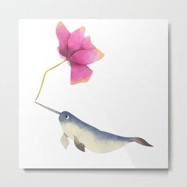 Narwhal Flowers Metal Print