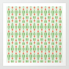 Topiary tree seamless wallpaper pattern with square shapes and dotted line. Art Print