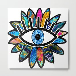 Greek Evil Eye Blue Flower Metal Print