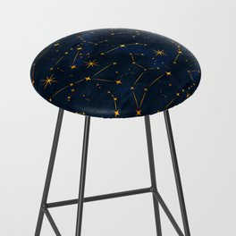 N48 - Indigo dark blue night space with shining stars by Arteresting Bar Stool
