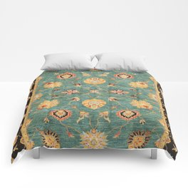 Oushak  Antique Gold Teal Turkish Rug Print Comforters