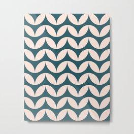 Geometric Leaf Shapes in Teal and Blush Metal Print