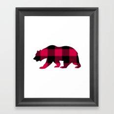 Buffalo Plaid Bear Framed Art Print