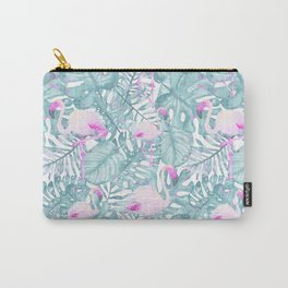 Neon pink green watercolor flamingo tropical leaves Carry-All Pouch