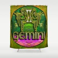 astrology Shower Curtains featuring Gemini Zodiac Sign Astrology by CAP Artwork & Design