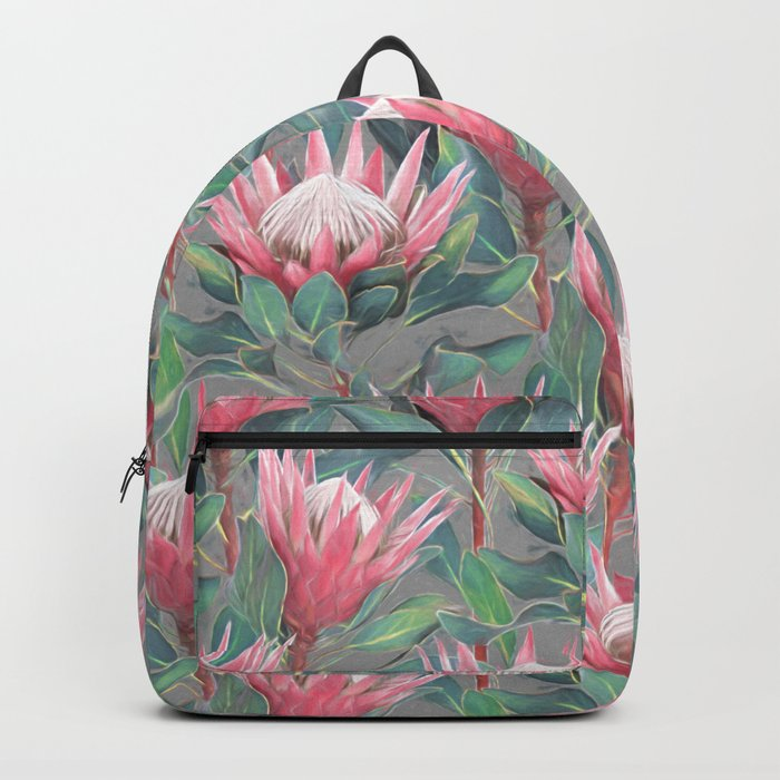 Pink Painted King Proteas on grey Backpack