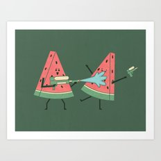 Water Fight Art Print