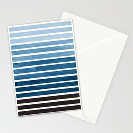 Watercolor Gouache Mid Century Modern Minimalist Colorful Green Blue Stripes Stationery Cards