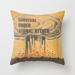 Vintage poster - Survival under atomic attack Throw Pillow