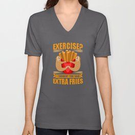 Exercise French Fries Sloth Sport Unisex V-Neck