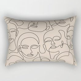 Crowded Girls In Beige Rectangular Pillow