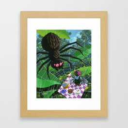 fly having picnic in spider web with big spider Framed Art Print