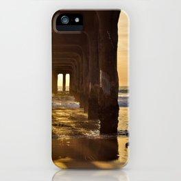 Winter sunset at Manhattan Beach pier iPhone Case