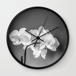 monochrome orchid Wall Clock
