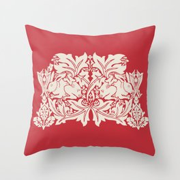 William Morris Style Victorian Christmas Bunnies Throw Pillow